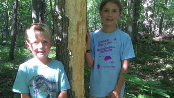 Two Summer Kids' Camp participants at the Wildlife Sanctuary