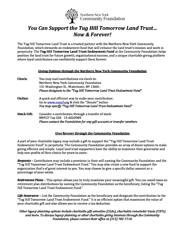 THTLT NNYCF options   Tug Hill Tomorrow Land Trust