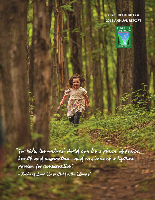 cover image with child running through woods