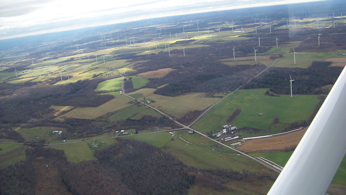 Ariel view of Wind turbines