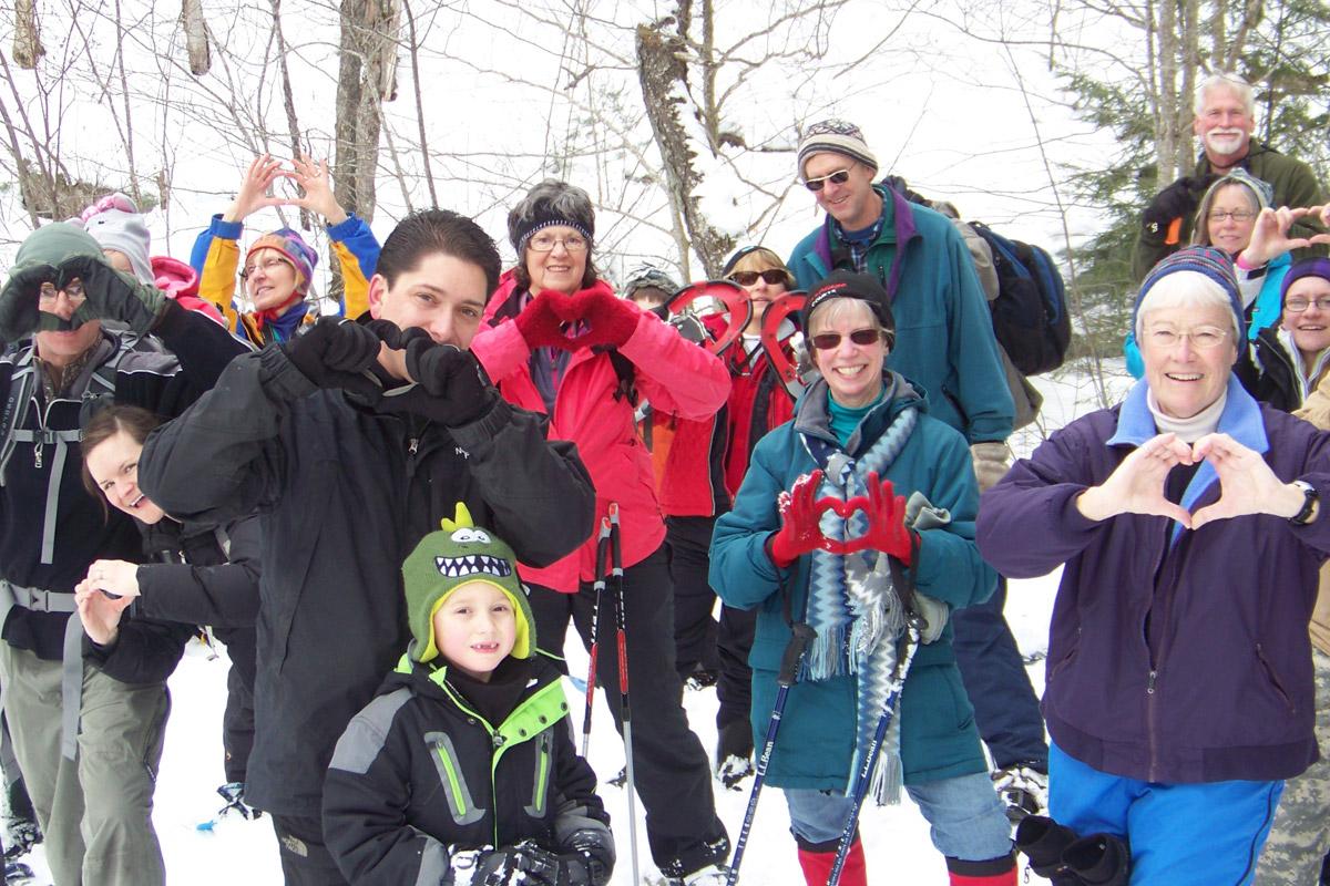 winter hike hearts